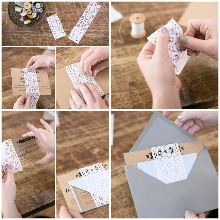 einladungskarten hochzeit vintage, briefumschlag aus grauem papier, hochzeitseinladungen mit spitze