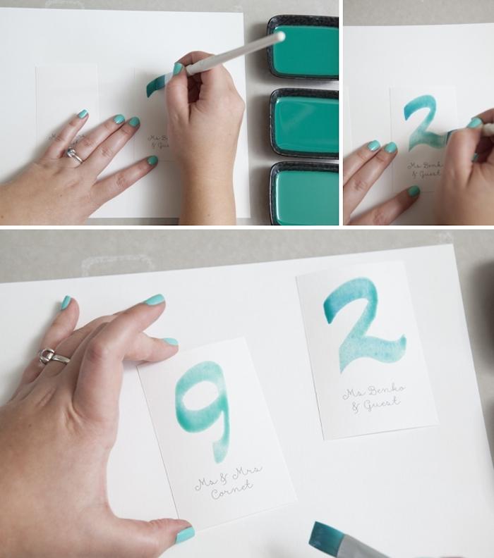 hochzeitskarten selbst basteln, zahlen malen, meergrüne wasserfarbe, pinsel, diy ideen