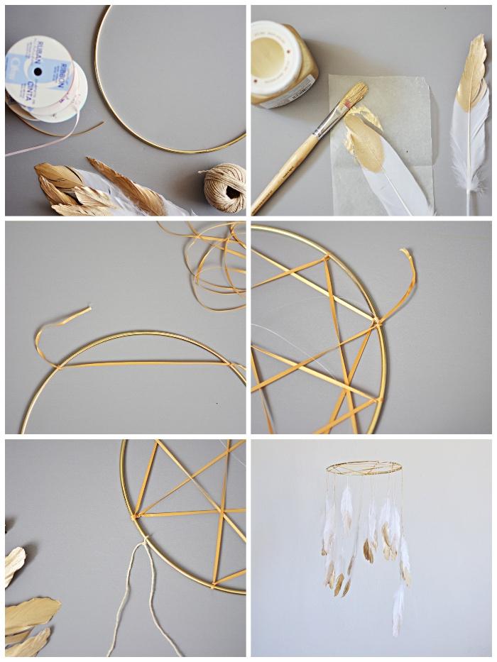 traumfänger diy, weiße federn mit goldener farbe bemalen, mobile selber machen, goldene schleife