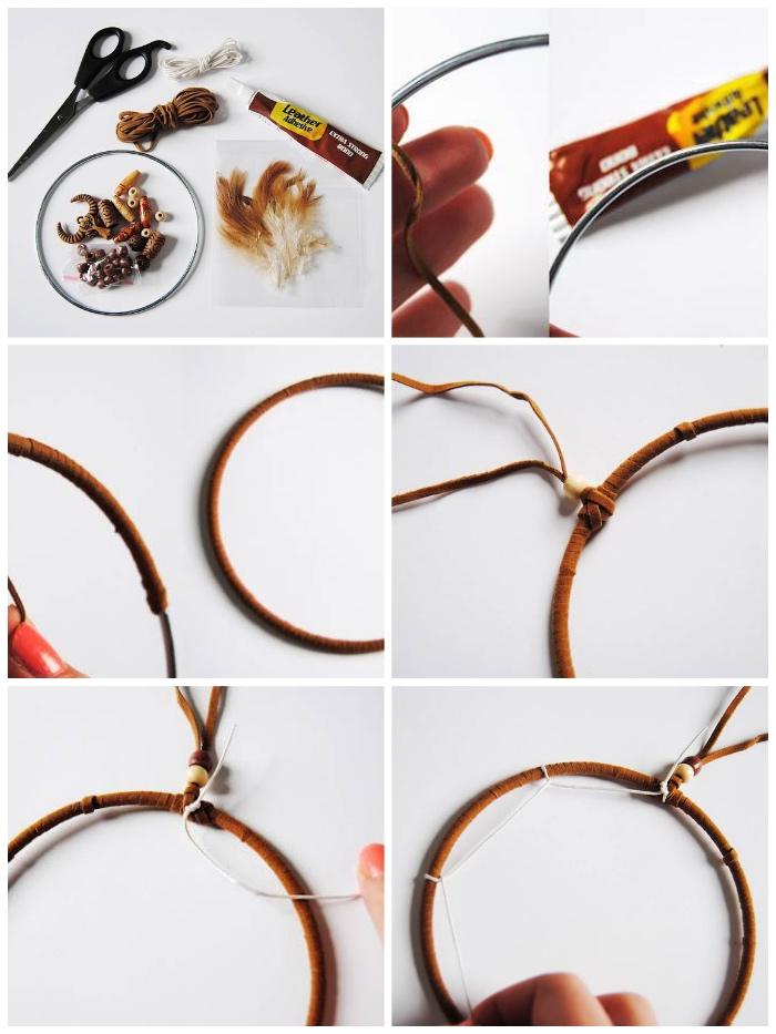 traumfänger diy, metallener ring, brauner lederband, klebstoff, weißer faden, wanddeko selber machen