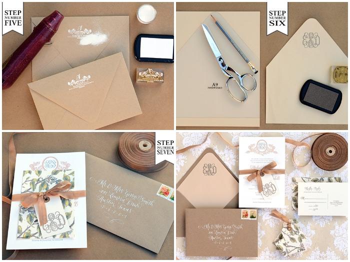 hochzeitseinladungen selber machen, stempel mit weißer tinte, briefumschlag stempeln, diy