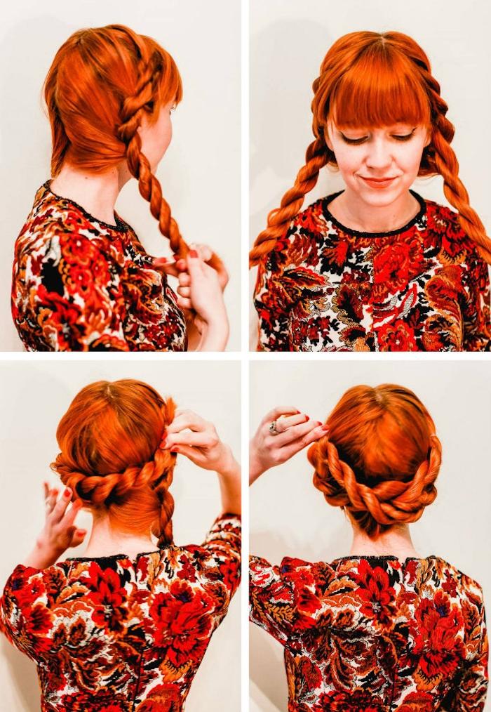 Zopfkranz selber machen, leichte Abiball Frisuren zum Nachstylen, Anleitung in vier Schritten