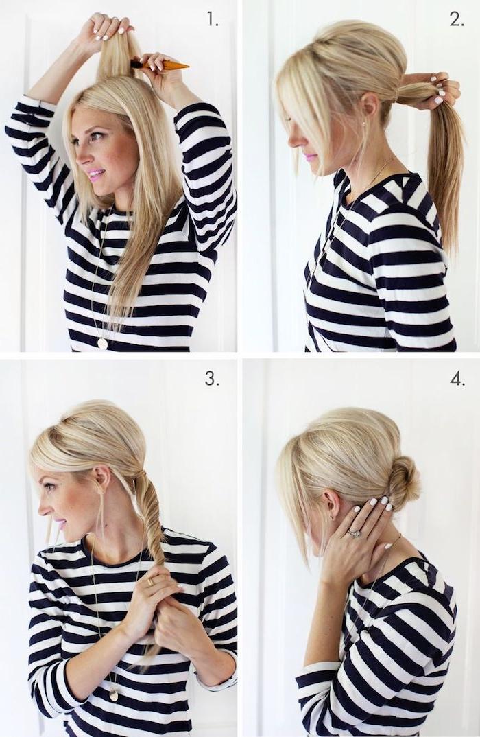 Leichte Dutt Frisur selber machen, mit Volumen, Anleitung in vier Schritten