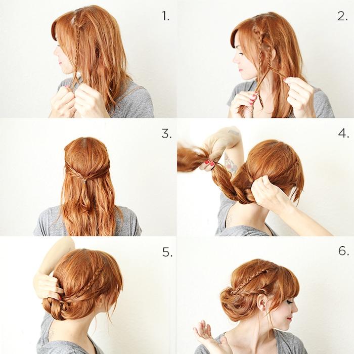 Anleitung für Hochsteckfrisur in sechs Schritten, mit dünnen Zöpfen, für lange Haare