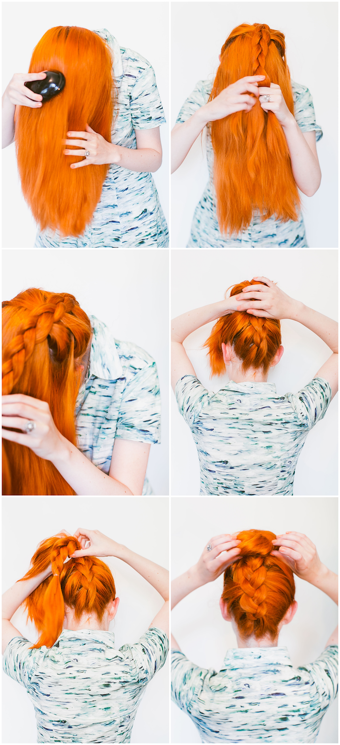 Dutt Frisur mit Zopf, leichte Idee für Abiball Frisur, Anleitung in sechs Schritten
