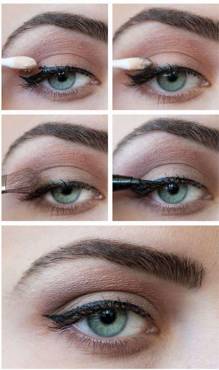 augen schminken, schminktipps für grüne augen, braune lidschatten, eyeliner ziehen
