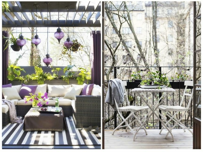 zwei schöne balkon ideen, lila deko, marokkanische lampen, dekokissen, blumen, teppich, rattansofa