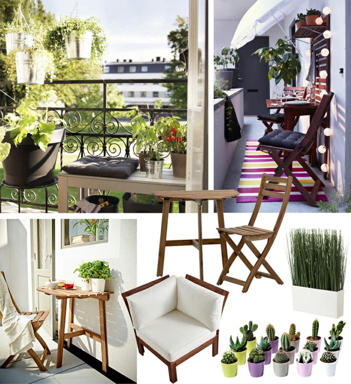 kleinen balkon gestalten, collage mit den passenden möbeln und ideen, kaktus blumen, stilvoller balkon