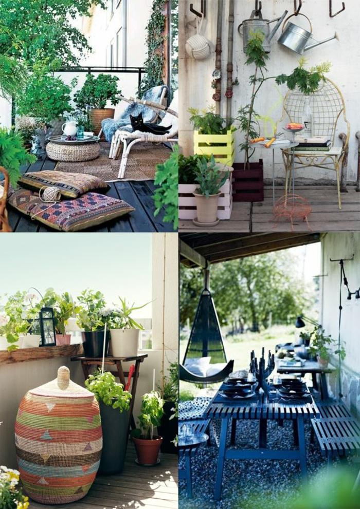 balkon gestalten mit wenig geld, bunte varianten zum gestalten je nach dem geschmack, katze, kissen, bequeme sitzmöbel