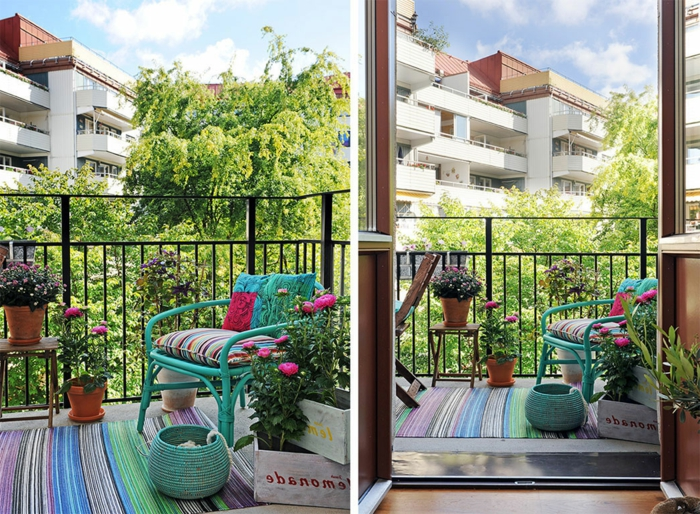türkis sessel, bunte dekorationen, teppich, korb, deko ideen, balkonmöbel kleiner balkon