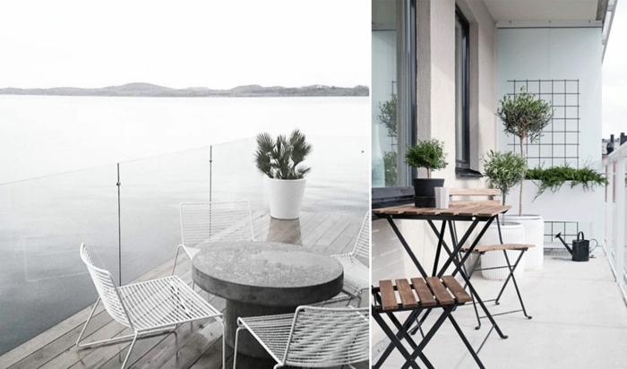 zwei ideen im skandinavischen stil zum thema balkon gestalten, einfach und elegant, grau. weiß und schwarz, möbel ideen