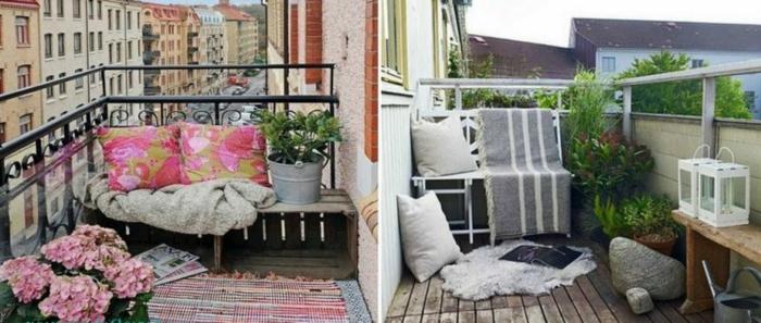 balkonmöbel für kleinen balkon ideen in rosa oder weiß und grau, pflanzen deko
