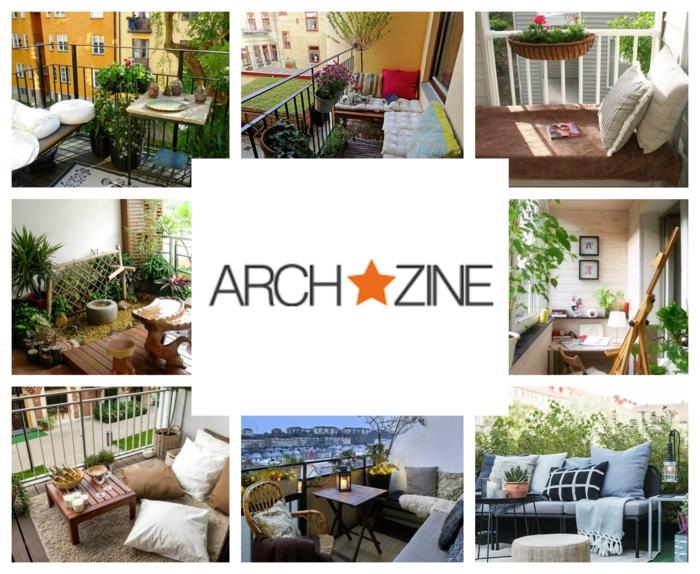 kleinen balkon gestalten, ideen zum inspirieren von archzine, collage mit neun bildern, einrichtungsideen
