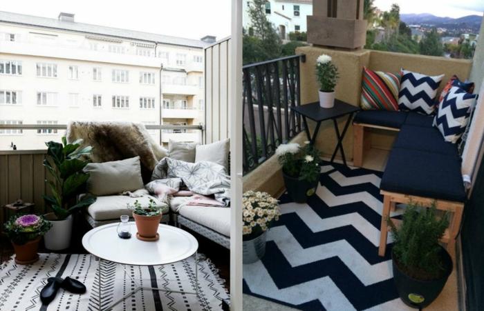 balkonmöbel für kleinen balkon, collage mit zwei schönen stilideen, ungeschickt und gemütlich den eigenen ort gestalten
