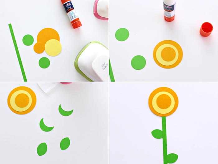 Blumen aus Papier basteln, DIY Idee für Kinder, Anleitung in vier Schritten