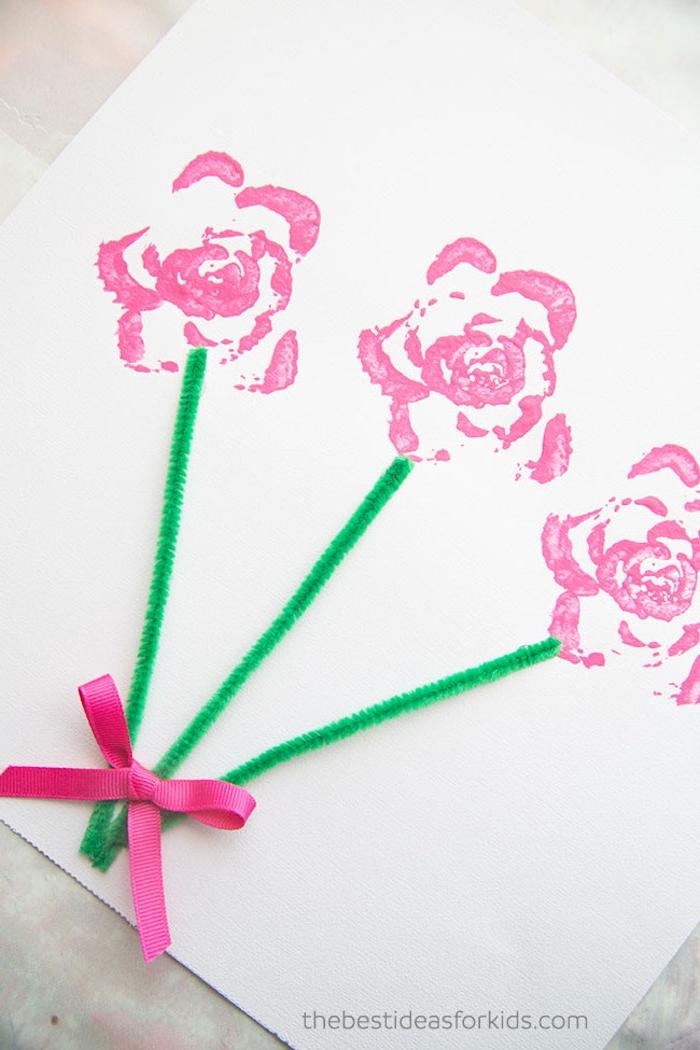 DIY Idee mit Stempel, Rosenstrauß mit Schleife, Grußkarte zum Muttertag selber machen