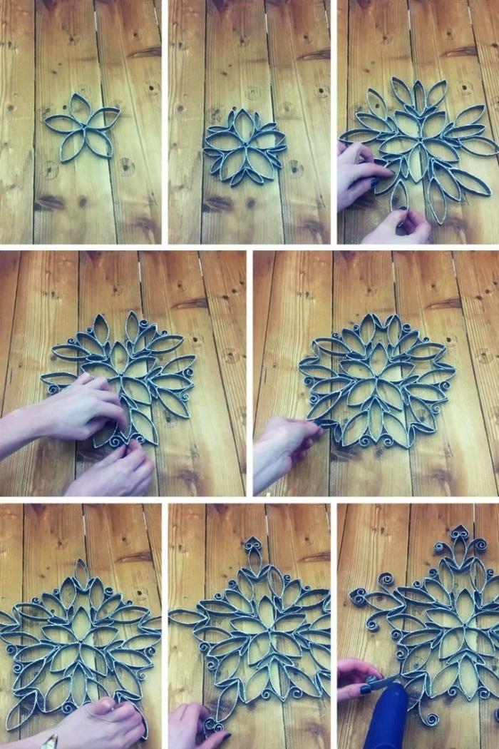 eine Blume aus Klorollen basteln, alle benötige Schritte in einem Collage