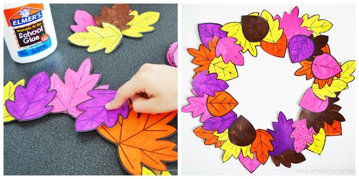 Herbstblätter aus Papier ausschneiden und bemalen, Bunten Kranz für die Tür selber machen
