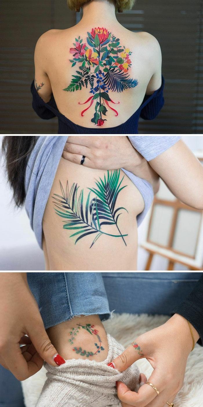 tattoo ranke, drei tattoos auf einem bild, inspirierende tattoo ideen mit farben