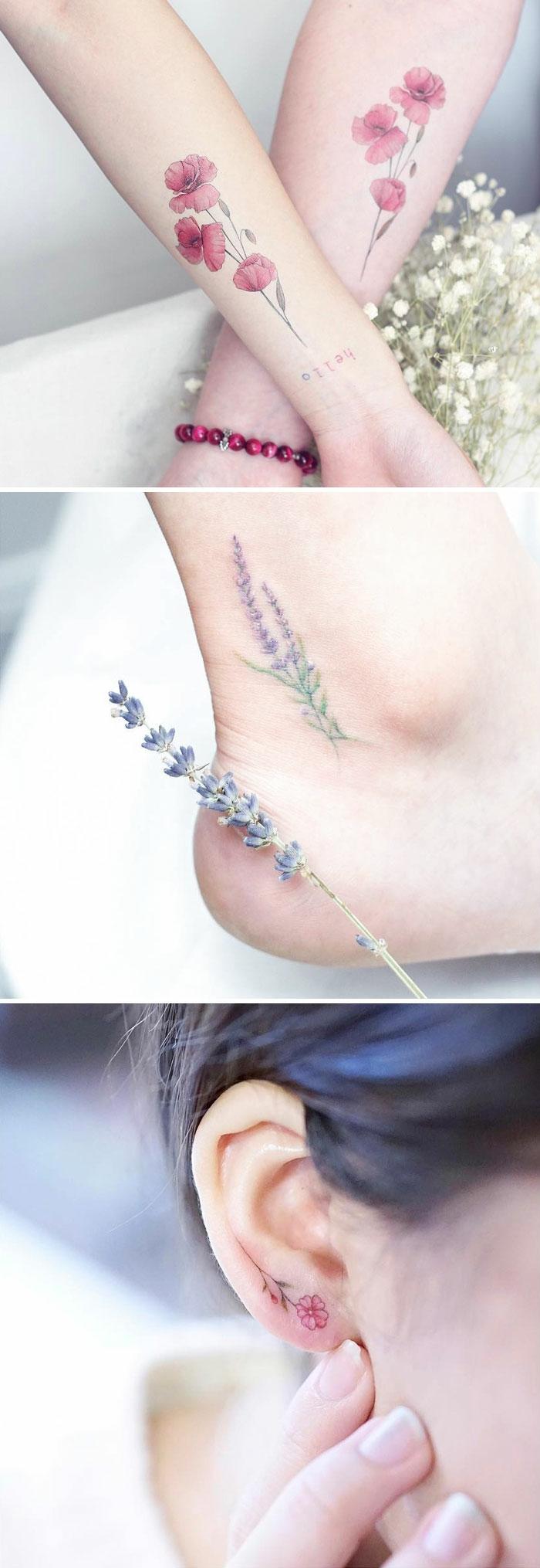 schöne tattoo ranke motive, handtattoo, fußtattoo, kreative tattooidee am ohr, kleine blümchen