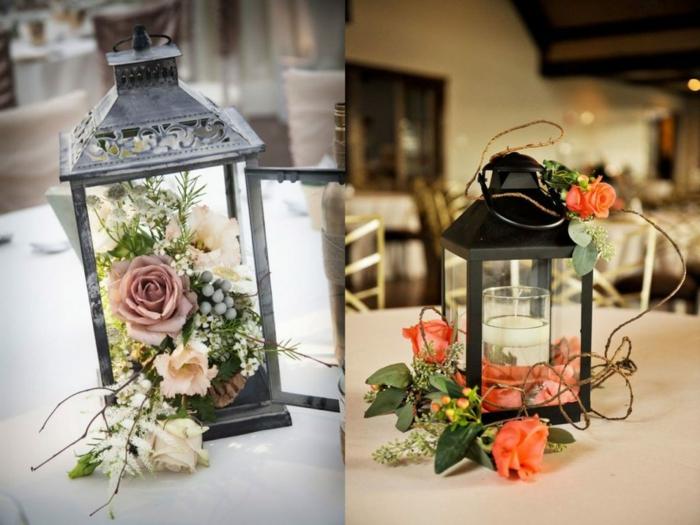 schöne tischdeko ideen mit lampen und blumen, leuchten mit kerzenund frischen blumen dekorieren, tischdekoration zu einem besonderen anlass