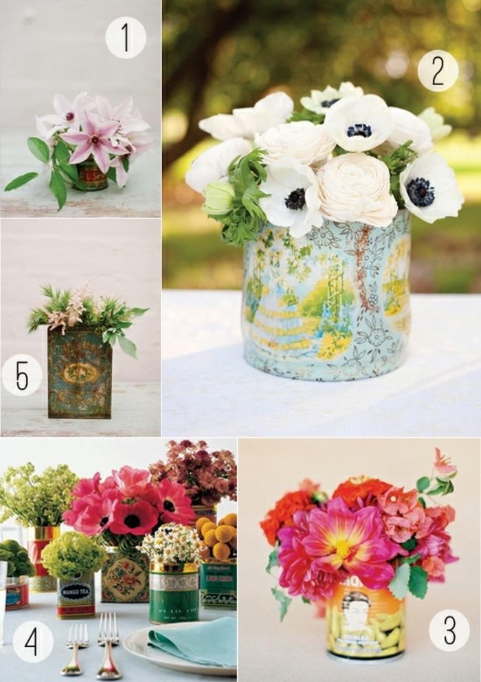 blumengestecke selber machen, tischdeko in dem garten, fünf mögliche designs mit gartenblumen