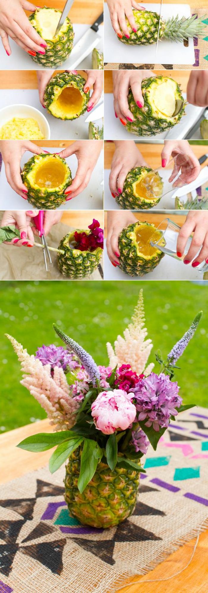 tischdeko geburtstag, frische idee mit ananas und blumen, eine exotische motivparty veranstalten und richtig dazu dekorieren, ananas als vase für die blumen