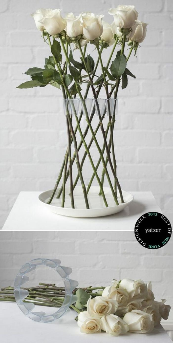 tischdeko geburtstag, elegante tischdekorationen für eine feine romantische feier, weiße rosen, schön arrangiert