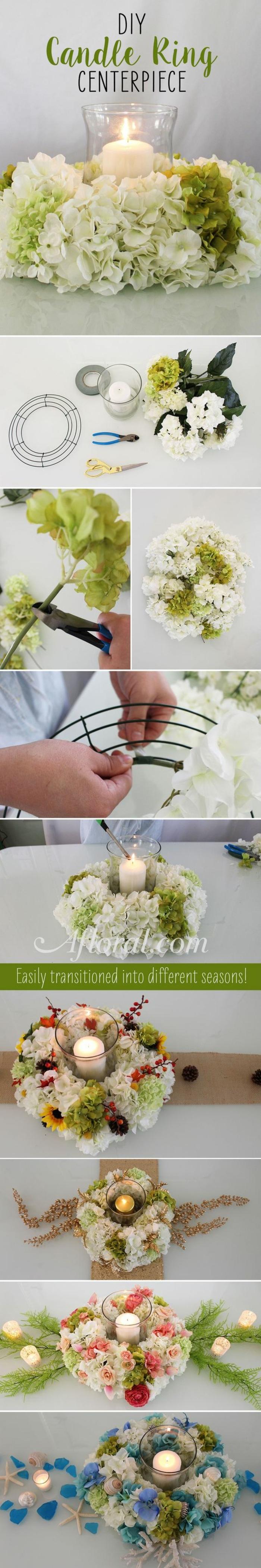 tischdeko geburtstag, eine idee mit blumen und kerzen, elegante tischdekorationen selber gestalten, weiß und grün deko