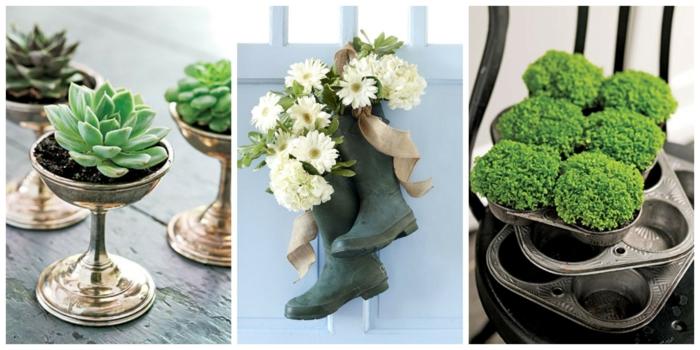 tischdeko selber machen idee für den garten, gartenparty deko idee, gummistiefel als vasen nutzen, kreativität und schönheit