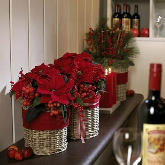 weihnachtliche tischdeko selber machen, blumen als deko im winter auch möglich, weihnachtsstern