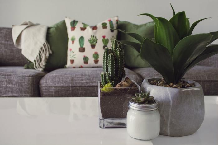 graues Sofa, grüne Kissen, weißer Tisch, Blumentöpfe, Wohnideen Wohnzimmer