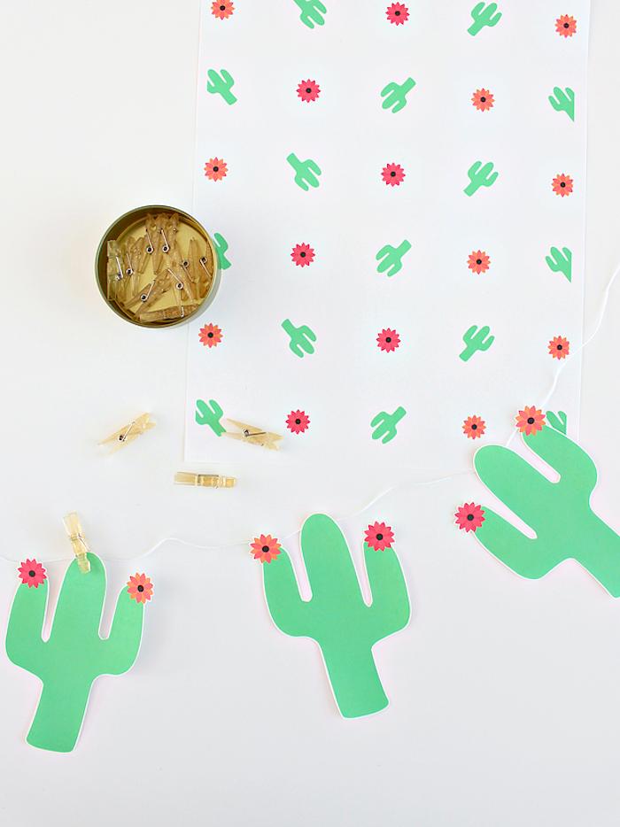 Kakteen aus Papier ausschneiden, lustige Girlande selber machen, DIY Idee für Kinder