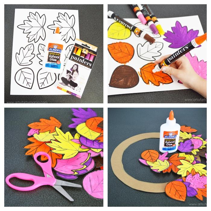 Basteln mit Kleinkindern, Kranz mit Herbstblättern aus Papier selber machen, Anleitung in vier Schritten