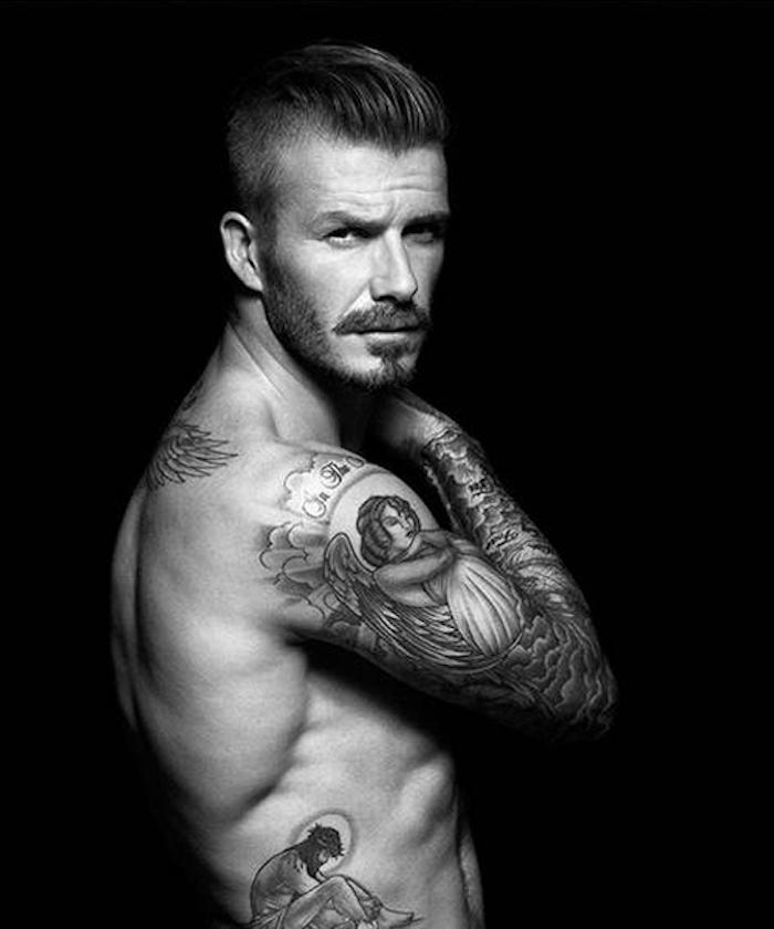 David Beckham Tattoos an beiden Armen und am Rücken, Tattoo Motive für Männer