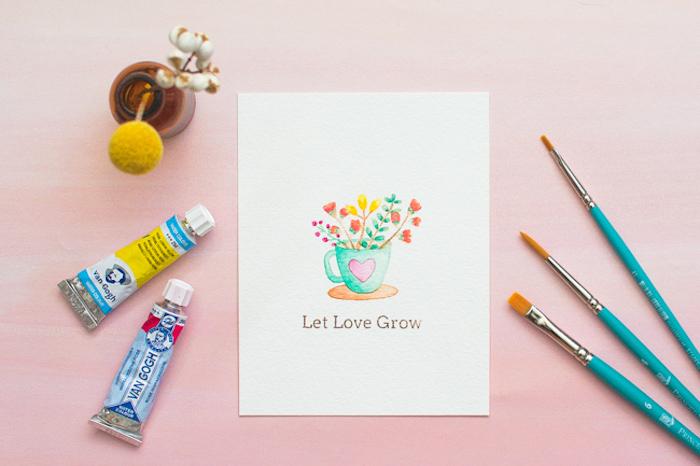 Hochzeitskate selbst gestalten, Wasserfarben und Pinsel, Blumen zeichnen, let love grow