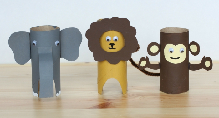 brauner Affe, gelbe Löwe und grauer Elefanten, Bastelideen mit Klopapierrollen