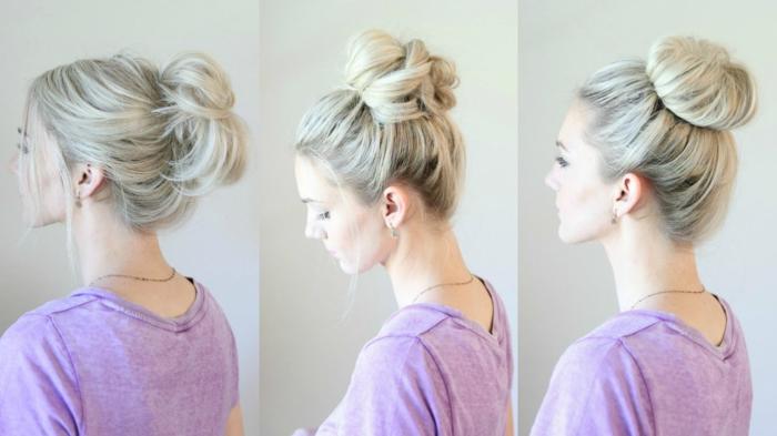 drei Fotos von blonden Mädchen, das ein Messy Dutt selber gemacht hat