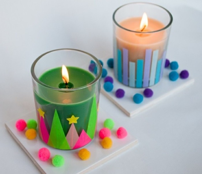 Kerzen mit Weihnachtsmotiven selber machen, leichte DIY Idee für Tischdeko
