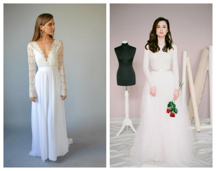 zwei elegante Boho Kleider, hübsche Bräute, in dem Braut Salon