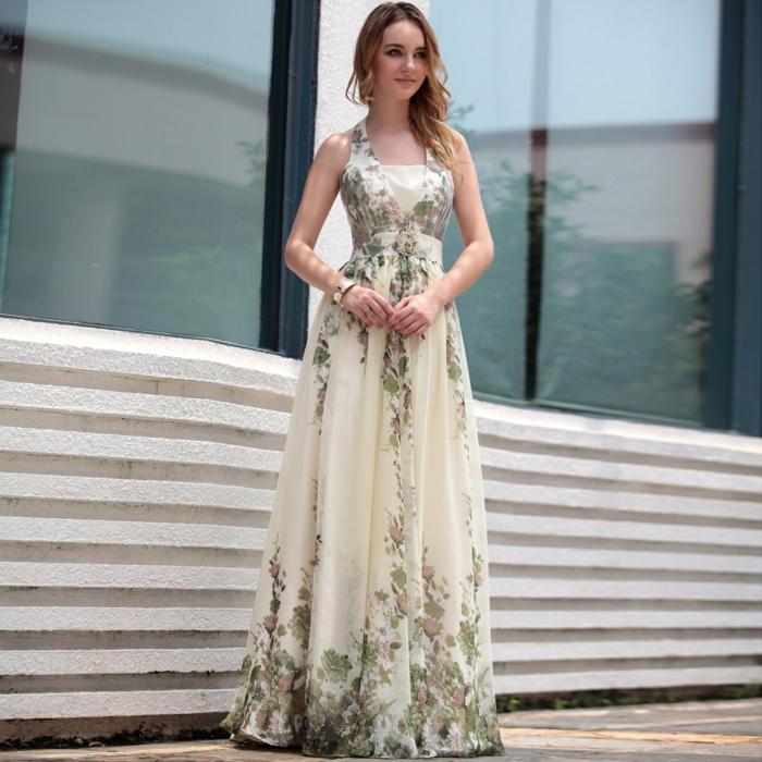 cremige Farbe von Boho Hochzeitskleid, mit bunten Blumenmotiven versehen