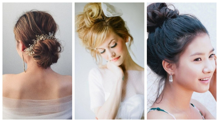 drei Beispiele für lockeren Dutt, Frisuren für Hochzeitsgäste mit Haarschmuck