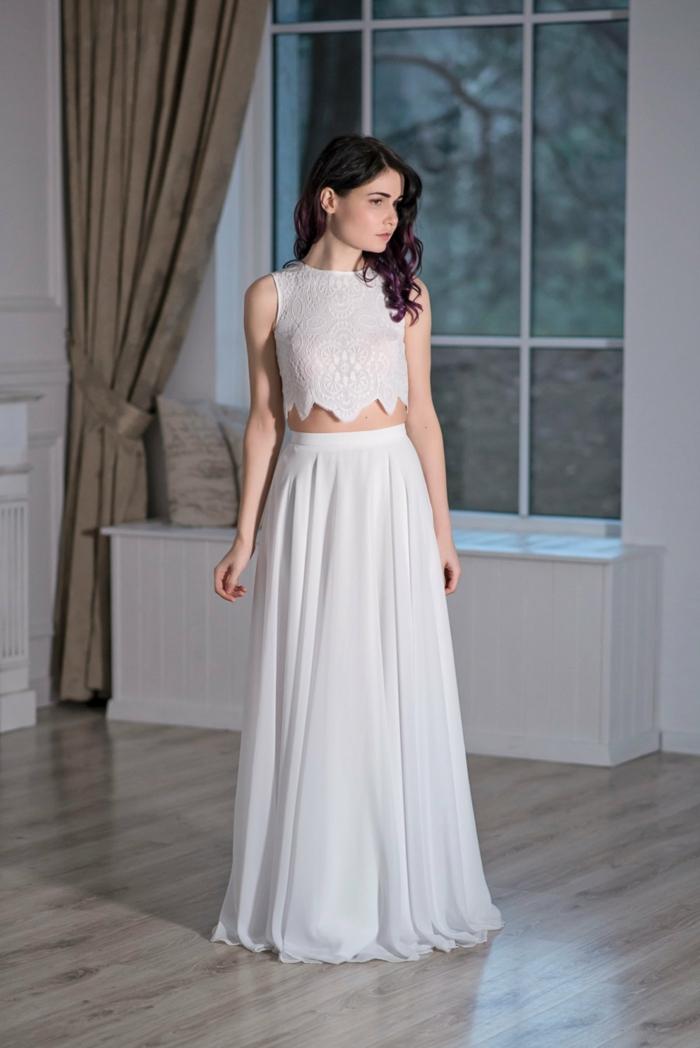Braut mit schwarzen Haaren, Boho Hochzeitskleid aus zwei Stücke, prächtiger Oberteil