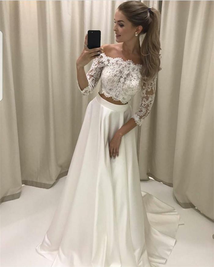 ein selbst aufgenommenes Foto, Kleid aus zwei Teile, ein langer, weißer Rock