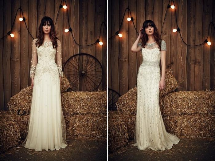 eine Hochzeit aufs Land, zwei Modelle vintage Brautkleider mit Spitze