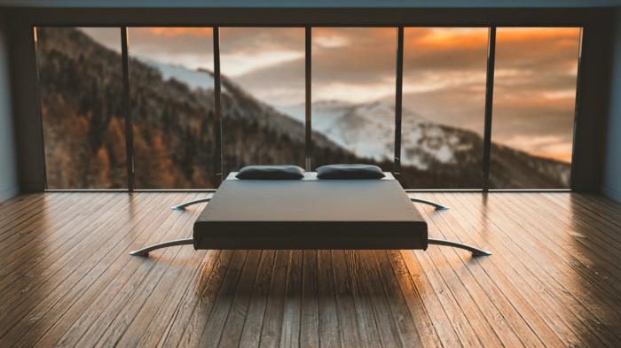 ein Haus mit Panorama, ein modernes Schlafzimmer, Grautöne, minimalistischer Stil