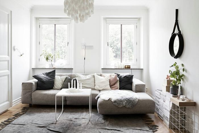kleines Wohnzimmer einrichten, modernes Wohnzimmer Design, graue Gestaltung