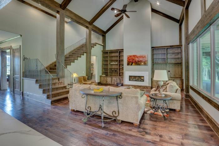 ein vintage Wohnzimmer Design, Laminat Boden, weiße Wandfarbe