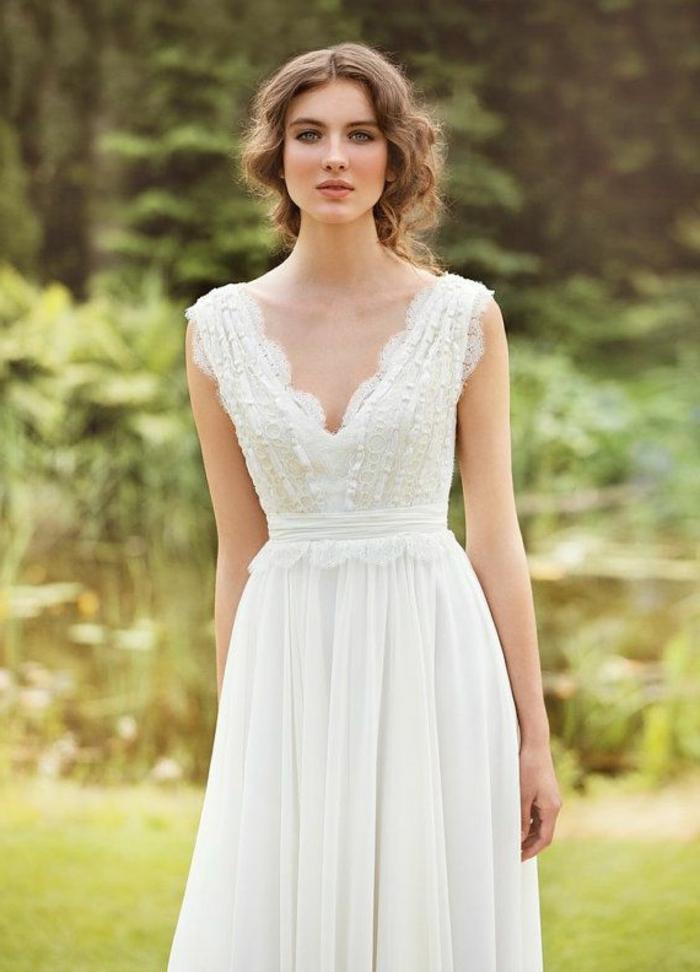 tiefer Ausschnitt, ein schönes, schneeweißes Kleid, alternative Hochzeitskleider