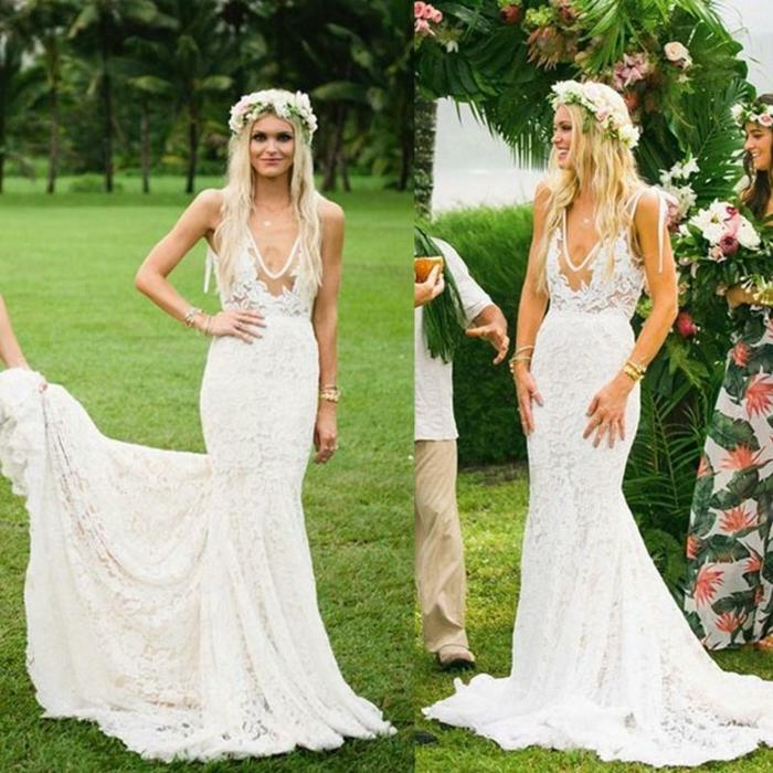 eine schöne Braut, Spitzenkleid, Kranz im Haar, alternative Hochzeitskleider